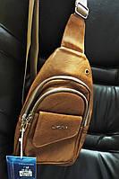 Сумка слинг бананка. Мужская сумка - городской рюкзак. Кожаная сумка через плечо Оливковый