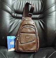 Сумка слинг бананка. Мужская сумка - городской рюкзак. Кожаная сумка через плечо Коричневая