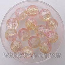 """Бусины """"Crackle"""" колотый лед 8 мм розовый с желтым (примерно 100-110 шт бусин)"""