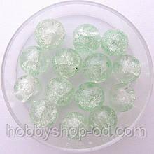 """Бусины """"Crackle"""" колотый лед 8 мм св. мятный с белым (примерно 100-110 шт бусин)"""