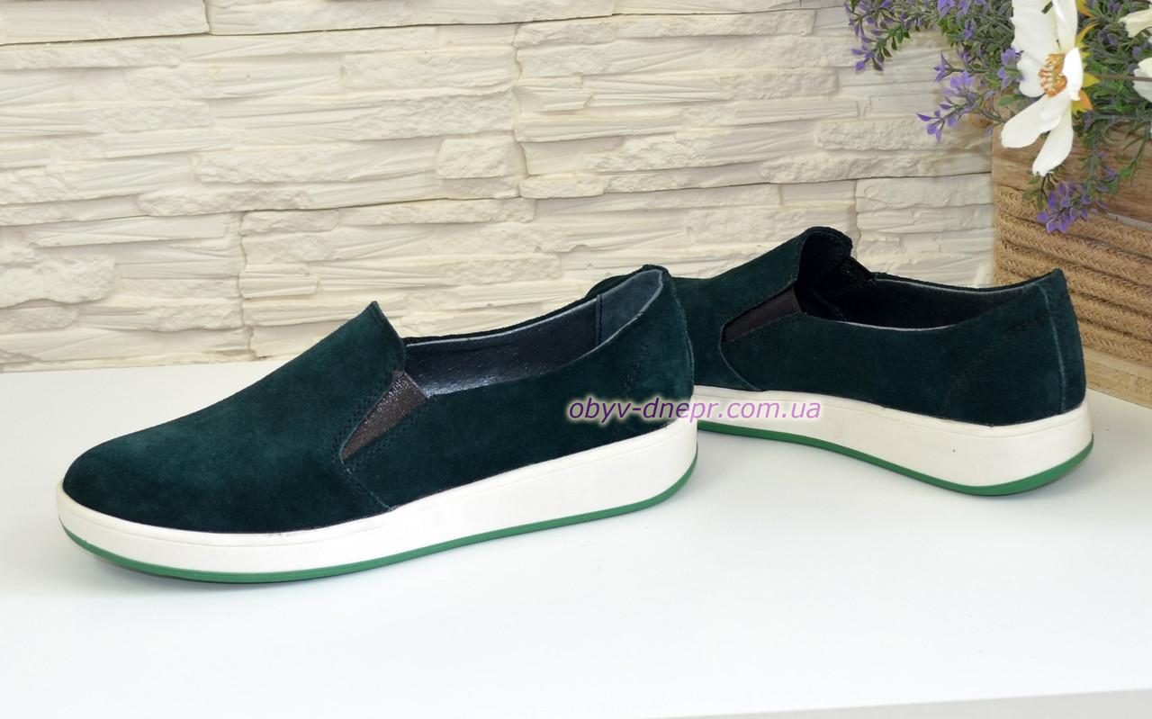 4d7cc9ed0 37 размер, фото 3 Туфли-мокасины замшевые зеленые женские на утолщенной  белой подошве. 37 размер, фото 4