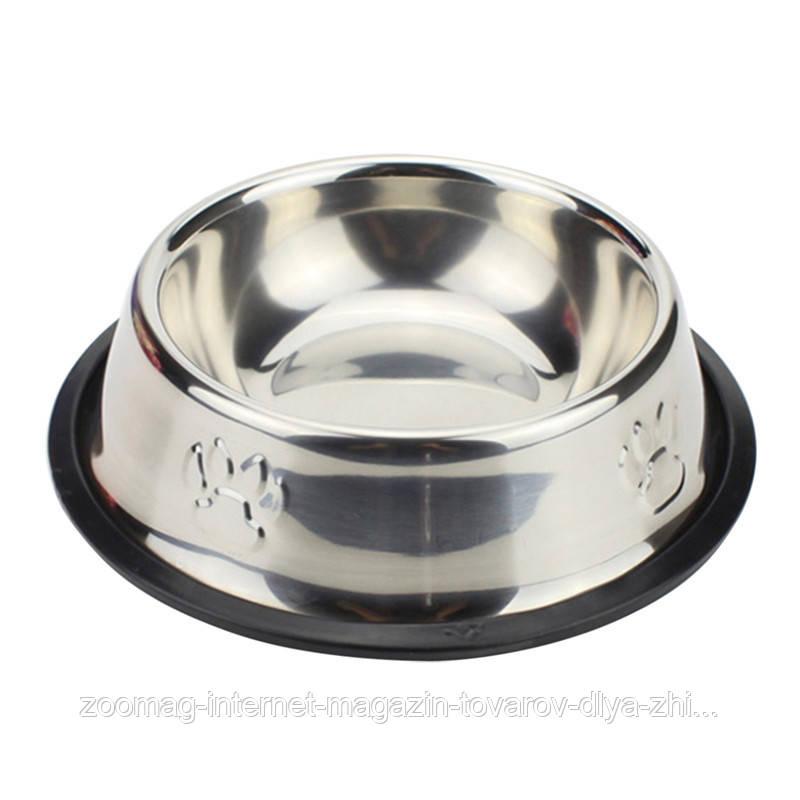 Миска из нержавеющей стали с тиснением для собак 33 см / 2350 мл