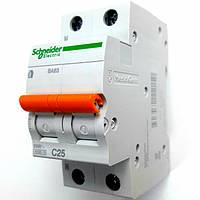Автоматический выключатель ВА63 1полюс+N 25А  Schneider Electric серия Домовой