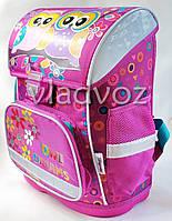 Школьный каркасный рюкзак для девочек ортопедическая спинка Сова сиреневый
