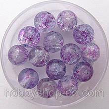"""Бусины """"Crackle"""" колотый лед 8 мм фиолетовые с малиновыми вкраплениями (примерно 100-110 шт бусин)"""