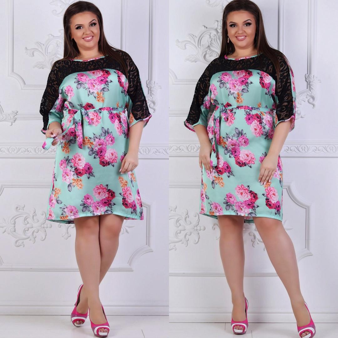 Платье свободного кроя больших размеров 48, 50, 52, 54, 56  с кружевом  код 206/1а