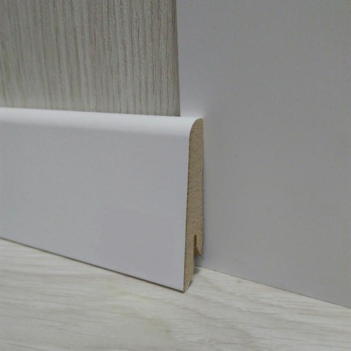 Плінтус підлоговий білий МДФ 17,4х58х2400мм, ламінована