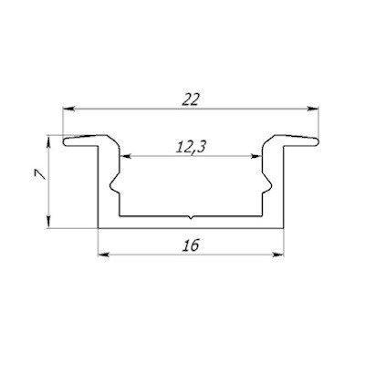 Врізний алюмінієвий профіль з матовим розсіювачем 2м для LED стрічки, фото 3