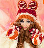 Комплект женский варежки шапка