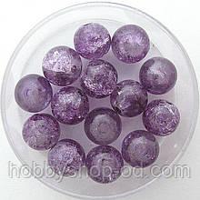 """Бусины """"Crackle"""" колотый лед 8 мм фиолетовые (примерно 100-110 шт бусин)"""