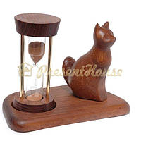Часы песочные со скульптурой Кот сидящий