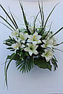 Искусственные цветы - Ритуальный букет лилия с папоротником, фото 7