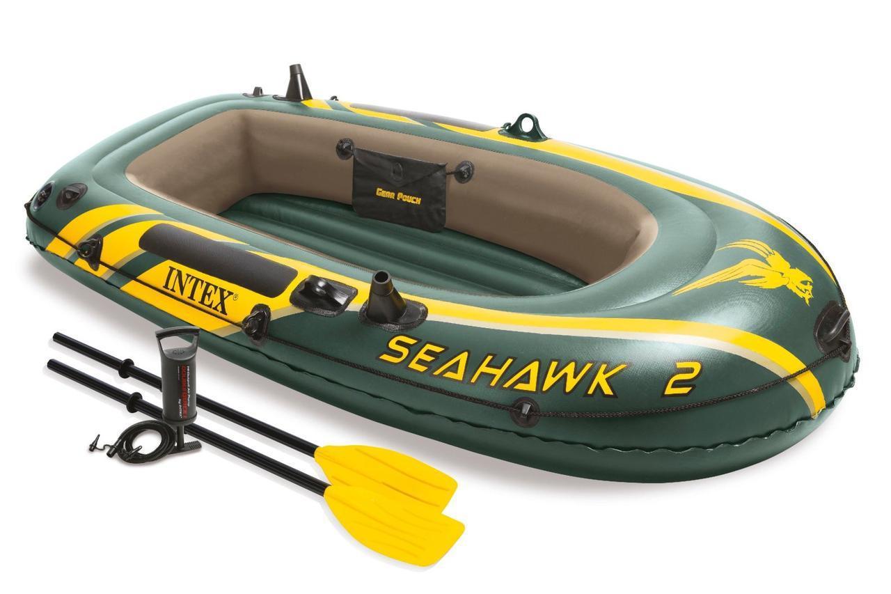 Надувная 2х местная лодка Intex (В наборе насос и 2 весла)