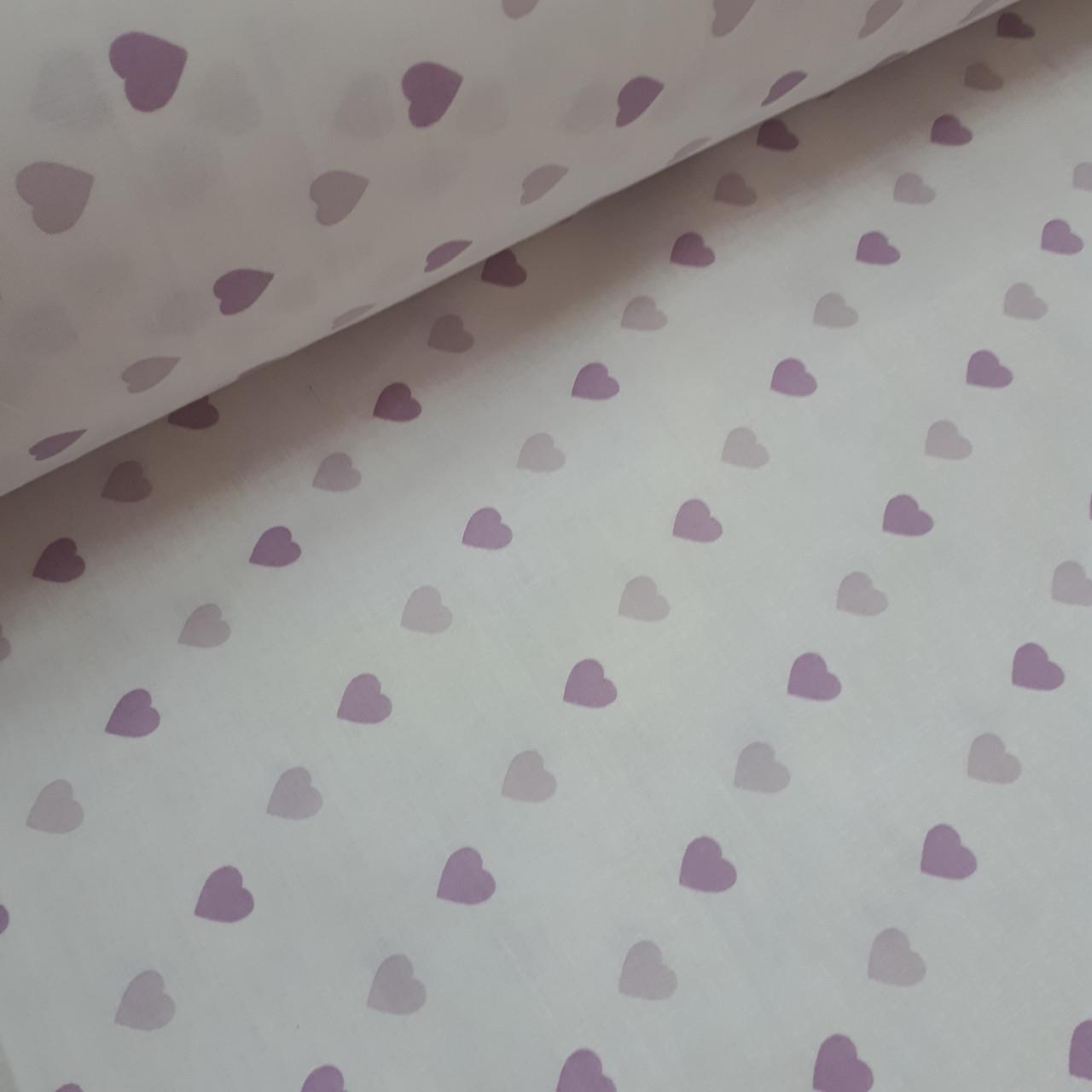 Ткань хлопковая бязь нежно-розовые и фиолетовые сердца на белом (шир. 2,2 м)