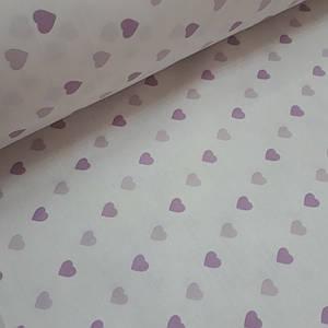 Ткань ранфорс нежно-розовые и фиолетовые сердца на белом (шир. 2,2 м)