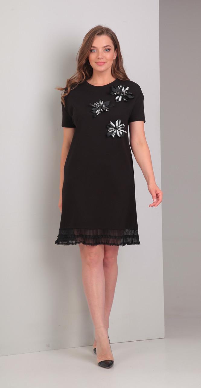 Платье Диамант-1327 белорусский трикотаж, черный, 46