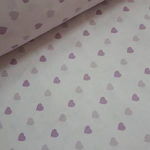 Ткань ранфорс нежно-розовые и фиолетовые сердца на бледно розовом (шир. 2,2 м)