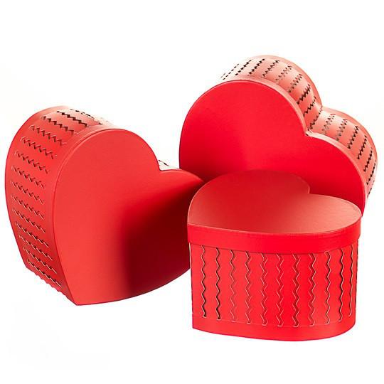 Набор подарочных коробок 3 шт, сердце ( красный цвет )