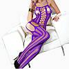 Пикантный эротический костюм с открытой промежностью, сексуальные Нижнее Бельё. Фиолет