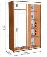 Шкафы-купе высота 2400,глубина 450,ширина на выбор, фото 1