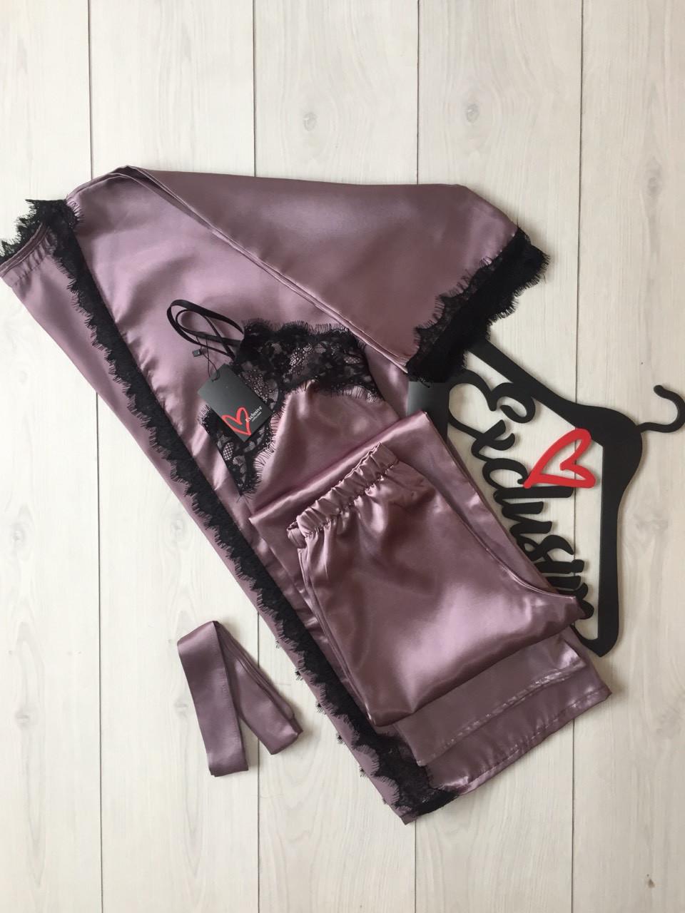 Серый атласный комплект 007-050, халат + штаны и майка с кружевом