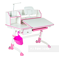 Детская регулируемая парта с выдвижным ящиком FunDesk Amare II, розовая, фото 1
