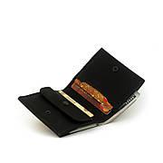 Мужской кошелёк кожаный на кнопке Wallet Square (as120101) Чёрный