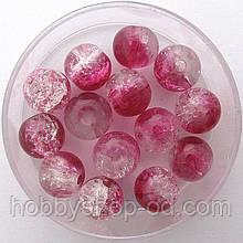 """Бусины """"Crackle"""" колотый лед 8 мм малиновые с белым (примерно 100-110 шт бусин)"""