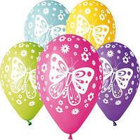Шар Воздушный с рисунком 12 Латексные Цветные Шары Бабочка  Шарики Надувные Воздушные Летекс 004310