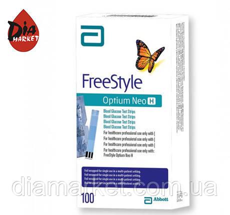 Тест-полоски Фристайл Оптиум Нео Н (Freestyle Optium Neo H) -1 упаковка по 100  шт.