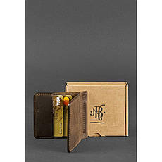 Мужское кожаное портмоне темно-коричневое 1.0 зажим для денег, фото 2