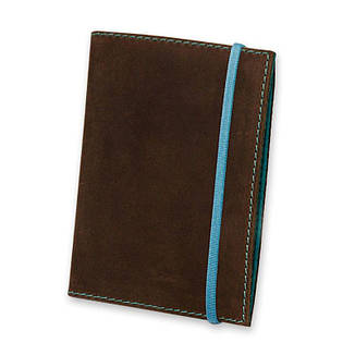 Женская кожаная обложка для паспорта 1.0 темно-коричневая с бирюзовым, фото 2