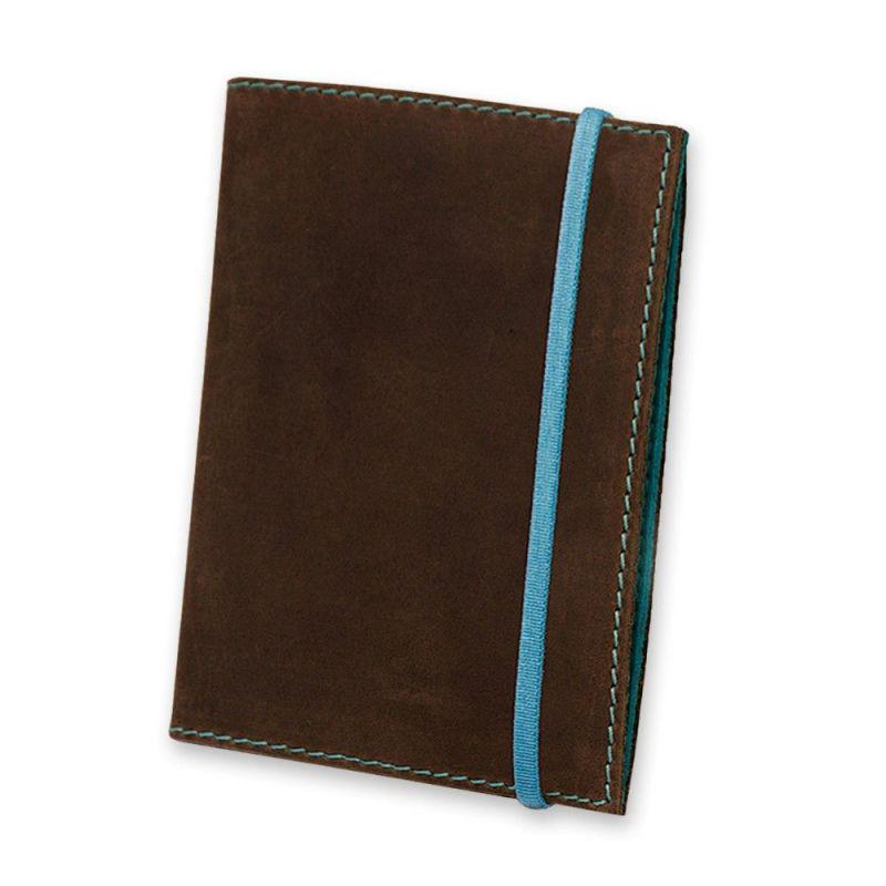 Женская кожаная обложка для паспорта 1.0 темно-коричневая с бирюзовым