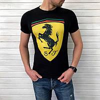 Футболка чёрная Ferrari logo | Феррари топ