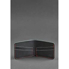 Мужское кожаное портмоне 4.1 (4 кармана) черное с красной нитью, фото 3