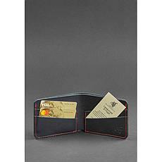Мужское кожаное портмоне 4.1 (4 кармана) черное с красной нитью, фото 2