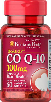 Коэнзим Q-10  Puritan's Pride Co Q-10 100 mg 60 Softgels, фото 2
