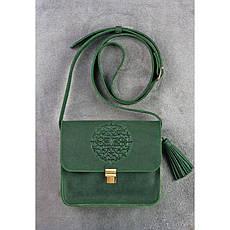 Кожаная женская бохо-сумка Лилу зеленая, фото 2