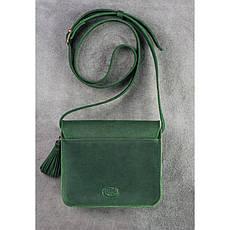 Кожаная женская бохо-сумка Лилу зеленая, фото 3