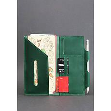 Кожаный женский тревел-кейс 3.0 зеленый с мандалой, фото 2