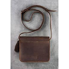 Кожаная женская бохо-сумка Лилу темно-коричневая, фото 3
