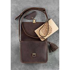 Кожаная женская бохо-сумка Лилу темно-коричневая, фото 2