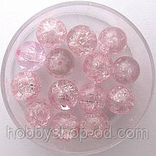 """Бусины """"Crackle"""" колотый лед 8 мм св. розовые (примерно 100-110 шт бусин)"""