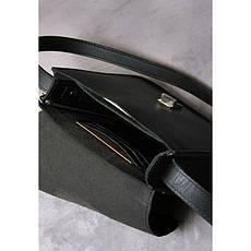 Кожаная женская бохо-сумка Лилу черная, фото 3