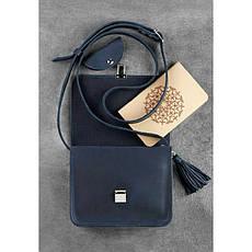 Кожаная женская бохо-сумка Лилу синяя, фото 2