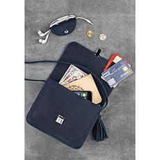 Кожаная женская бохо-сумка Лилу синяя, фото 3