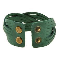 Кожаный браслет косичка зеленый, фото 2