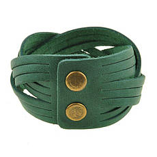 Кожаный браслет косичка зеленый, фото 3