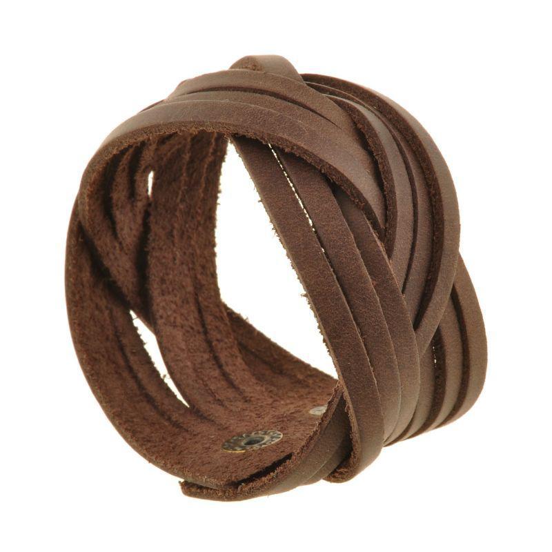 Кожаный браслет косичка темно-коричневый
