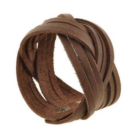 Кожаный браслет косичка темно-коричневый, фото 2